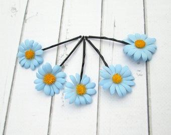 Set Light Blue Daisies Hair Pin Accessories - Daisy Flower Hair - Camomile hair decoration - Floral Bobby Pin - Girls Hair Accessories