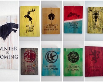 Set of 3 Game of Thrones Sign. Handmade Wood Signs with House Words and Sigil. Gift for Game of Thrones fans.