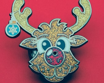 Sparkly Rudolph | Red Nose | Reindeer Pin Badge | Christmas Accessory | Hard Enamel Pin Badge | Glitter Enamel | Red Flashing LED light