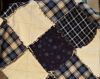 Flannel rag quilt baby blanket