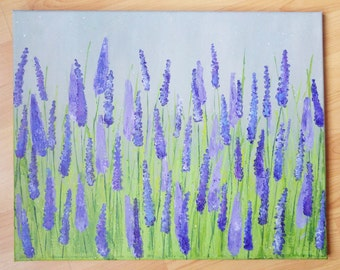 Lavender Acrylic Painting on Canvas 40x50cm