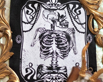 hand printed Backpatch skeleton and pearls occult 20