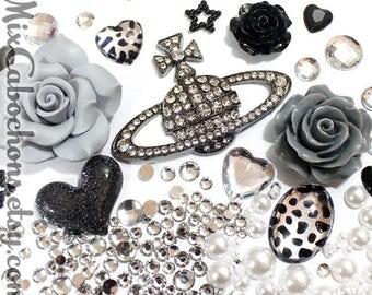 Bling Bling DIY cabochon deco kit , Kawaii decoden kit/ deco kit / black silver Saturn grey flower cabochon deco DIY phone case decoden kit