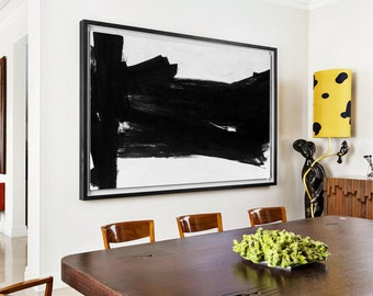 Abstract  oil Painting, Horizontal  Painting Large Wall Art. Black White Painting ,Hand Painted Extra Large Original Art- MODERNISMARTSTUDIO