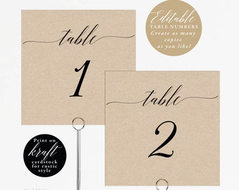 Rustic Wedding Table Numbers Printable, Table Number Template, Folded Tent Card, Flat Card,  Editable Table Number Card PDF Template #E003