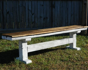 Rustic Reclaimed Wood Farmhouse Style Bench