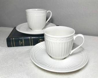 Mikasa Italian Countryside White Tea Cup Sets , DD 900 , Classic White , Vintage , Coffee Mug , Saucer