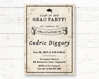 Harry Potter Graduation Party Printable Invitation, Marauders Map Custom Printable Invite