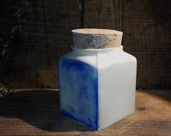 Pot porcelain blue cube bonde Cork