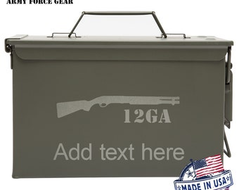New Personalized Metal Ammo Can Box, 12GA ShotGun Customized Engraved 50 cal All-Metal Waterproof Best Custom Gift For Fathers Day