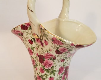 Baum Bros Formalities Porcelain Basket Vase