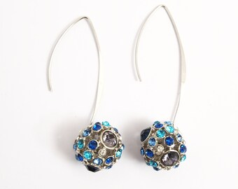 Earrings rhinestone balls