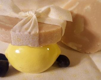Lemon Blueberry Goat's Milk Soap with Oatmeal Honey Chunks