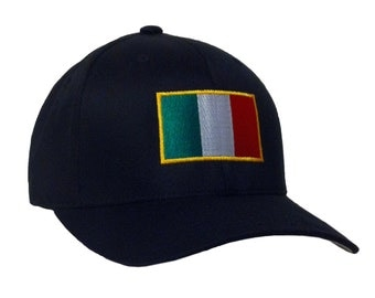 Italy Embroidery Flag on a Flexfit - Cotton Blend Cap