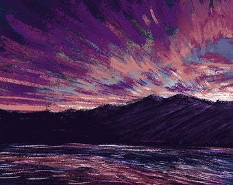 Sunset Mountain - Giclee Print on Canvas and Paper