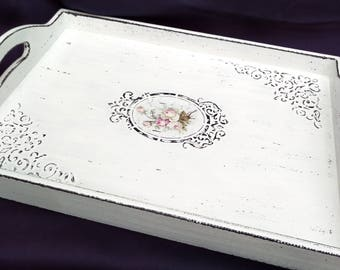 Large Decoupage Tray Shabby Chic Tray wooden serving tray Vintage Tray Decorative Tray cottage decorative rustic tray shabby chic furniture