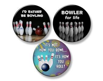 """BOWLER / BOWLING SAYINGS Fridge Magnet Set - 3 Large 2.25"""" Round Magnets"""