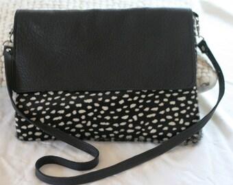 Handmade black leather hair-on-hide cross body messenger shoulder bag Purse satchel handbag clutch