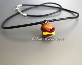 Hamburger necklace polymer clay ; miniature food jewelry