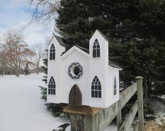 Church Birdhouse, Cathedral Bird House, Outdoor Wood Birdhouse, Chapel Birdhouse, Functional Birdhouse, Handmade Birdhouse