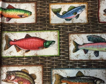 Quilters Fat Quarter Made Up of All Kinds of Fish