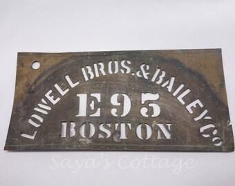 SOLD) Antique 1900's  Brass Stencil /Handmade Industrial Stencil Signs /Business Address Stencil Signs /Boston Rustic Wall Decor
