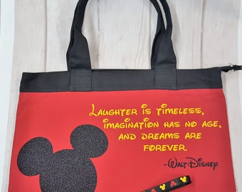 Mickey Mouse, Tote Bag, Disney inspired, FREE matching wristlet
