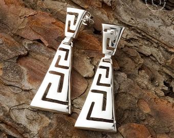Greek Meander Long Earrings, Sterling Silver Earrings, Greek Key Earrings, Greek Jewerly, Silver Jewerly