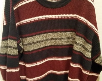 END of WINTER SALE! Comfy thick knit Striped grandpa sweater