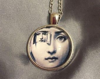 Fornasetti necklace /Fornasetti Artist jewelry Art Pendant necklace/ glass art image/ Italian artist/ Lina Cavalieri /eyes/