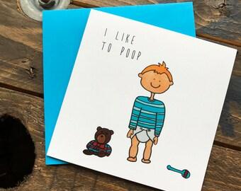 Baby boy poop machine illustrated greeting card - I like to poop