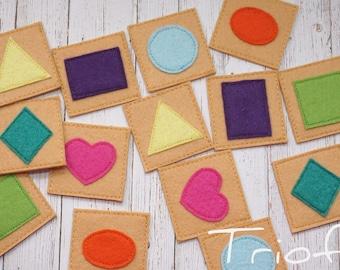 Memory game, shape memory game, felt game, educational game