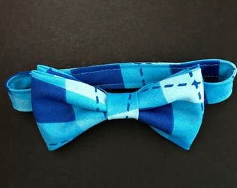 REDUCED!!  Boys Adjustable Bow Tie, Toddler's Blue Patchwork Bowtie, Baby Boys Bow Tie, Toddlers Blue Bow Tie, Little Boys Bow Tie