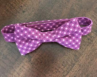 Boys Purple Polka Dot Bow Tie, Boys Polka Dot Bow Tie, Baby Boy Bow Tie, Purple & Pink Polka Dot Bow Tie, Purple Bow Tie, Adjustable Bow Tie