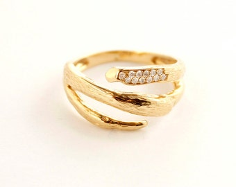 Solid 19k yellow gold and diamonds ring - Organic ring