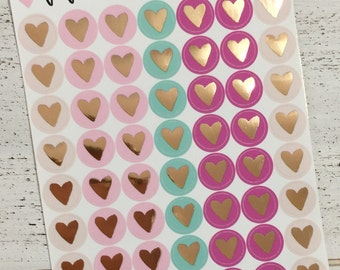 Boho Chic Rose Gold Foiled Heart Planner Stickers