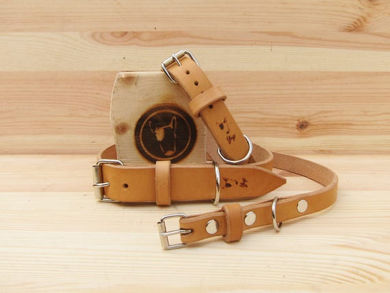Tan Leather Dog Collar, Classic Dog Collar, Handmade Dog Collar, Durable Dog collar, Palin Dog Collar, Strong Dog Collar, Adjustable Collar