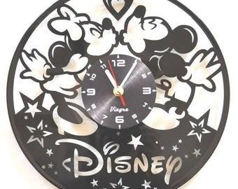 MICKEY AND MINNIE vinyl wall clock Mickey Mouse vinyl wall decor Disney kids Mickey Minnie gift Disney gift Disney decoration Mickey Minnie