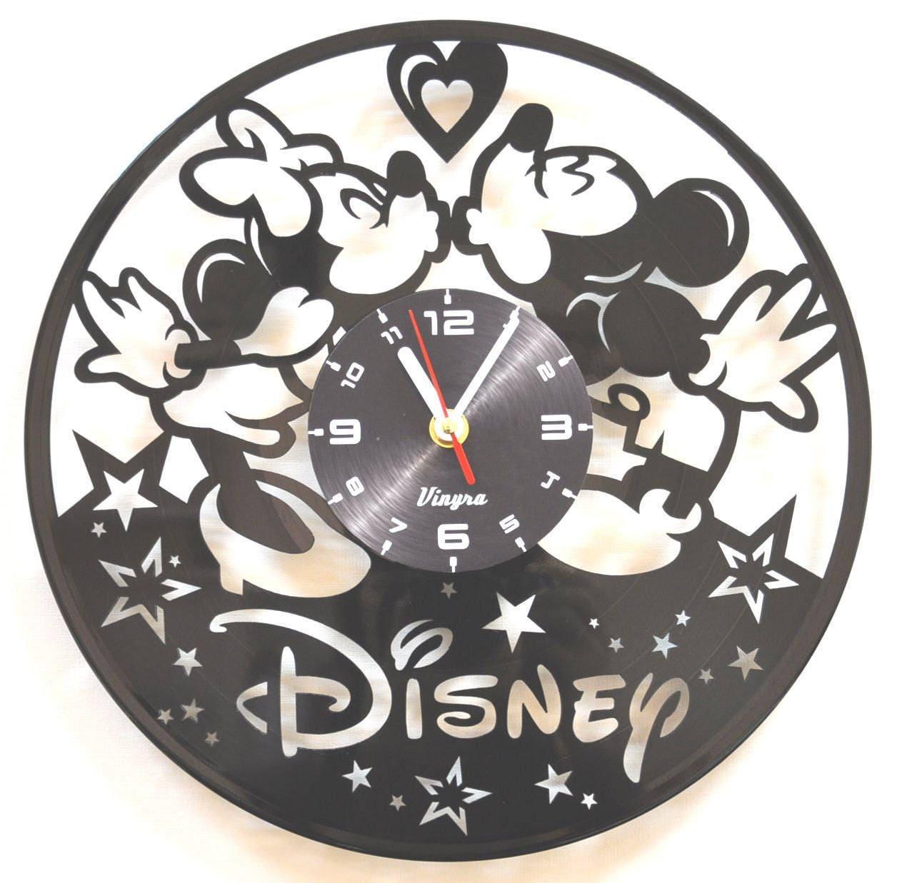 Mickey and minnie vinyl wall clock mickey mouse vinyl wall zoom amipublicfo Choice Image