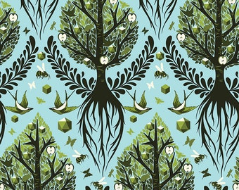 Tula Pink The Birds & The Bees Tree Of Life Fat Quarter in Pool