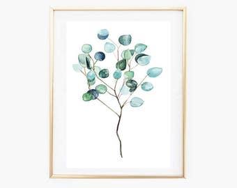 Eucalyptus print, Silver Dollar,  Botanical Art,Botanical Wall Prints,Silver Dollar Decor,Pastel Botanical Printables,Eucalyptus Wall Art