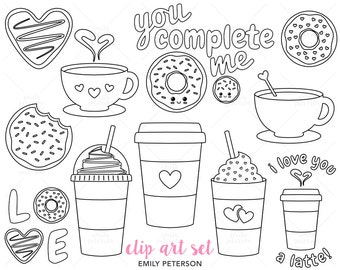 Donuts, Coffee, Latte, Cafe - Cute Digital Stamps, Line Art  - Commercial Use, Instant Download
