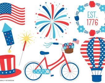 4th of July, Patriotic, USA, Red White & Blue - Cute Clipart, Clip Art - Commercial Use, Instant Download
