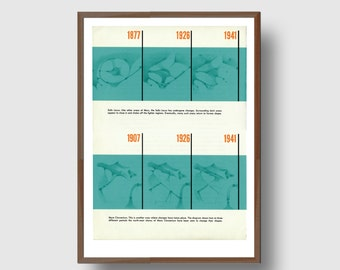 Mid-Century Mars Map Retro Astonomy Danish Science Diagram Graphic Design Book Reproduction Print
