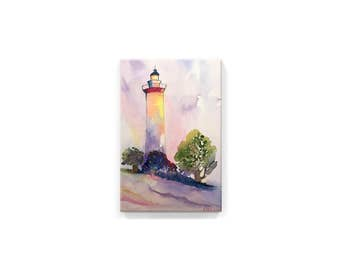 The Lighthouse  (handmade watercolor printed on canvas)