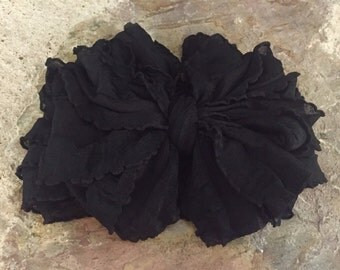 Black Ruffle Messy Bow Headband