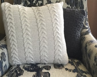Heather Gray Knit Pillow