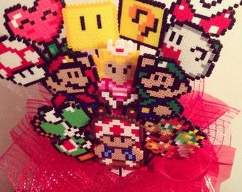 Super Mario Perler Bead Bouquet