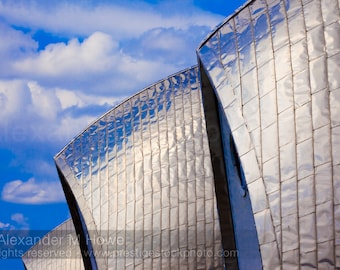 Light Reflecting on Stainless Steel Panels against a Blue Sky - London Fine Art Print