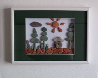 3d picture with river stones